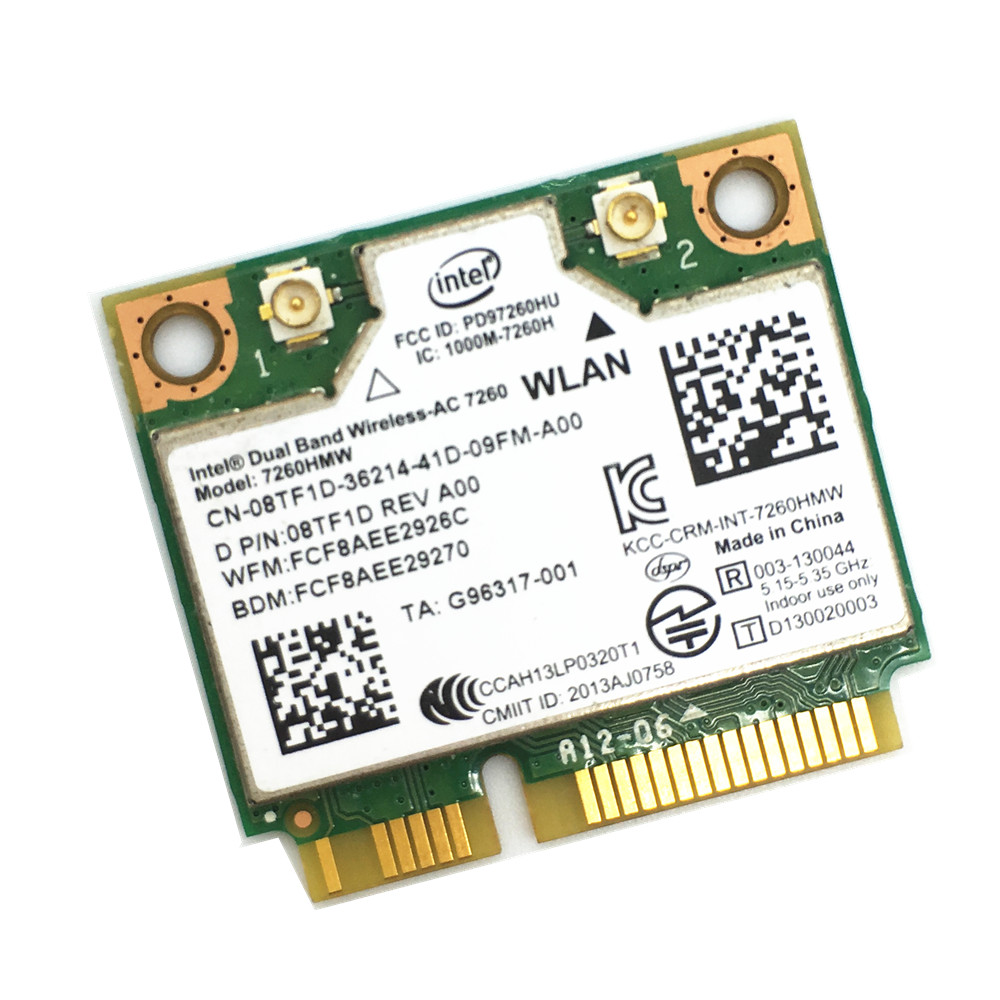 Wireless Wifi Card Dual Band For Intel 7260 AC 7260HMW Mini PCI-E 867Mbps 80211ac 24G5Ghz Bluetooth 40 For Laptop