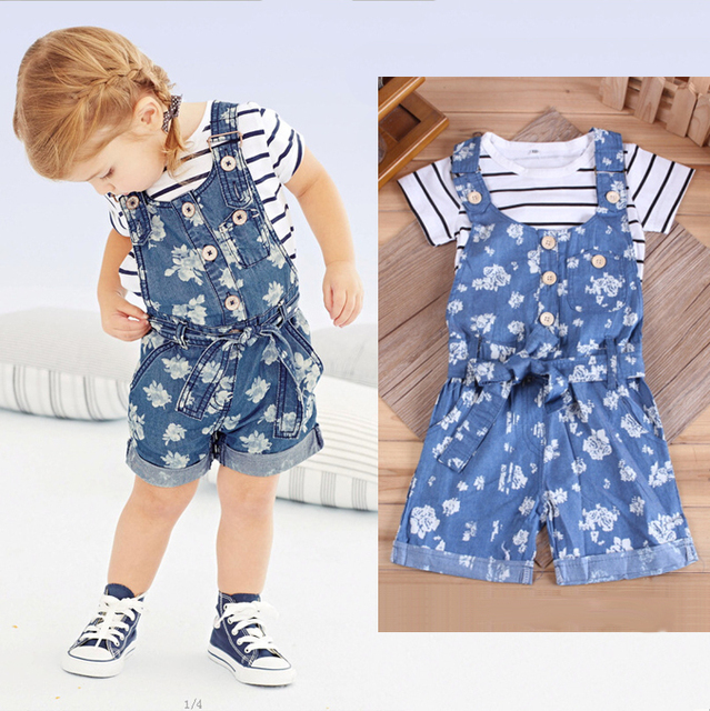 d7285ec51 2015 2 4Y Girls Outfits   Sets Striped White T Shirt Top + ...
