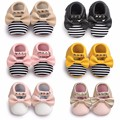 Princess girls New mary jane striped Rivet PU Leather Newborn Infant Toddler fringe Gold Bow Baby Moccasins Soft sole Baby Shoes