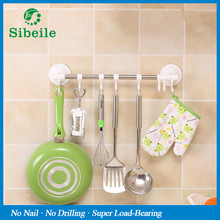 SBLE Stainless Steel Door Hanging Rack shelf Towel Bar Holder Scouring Pad Holder Bathroom Kitchen Accessories With Movable Hook