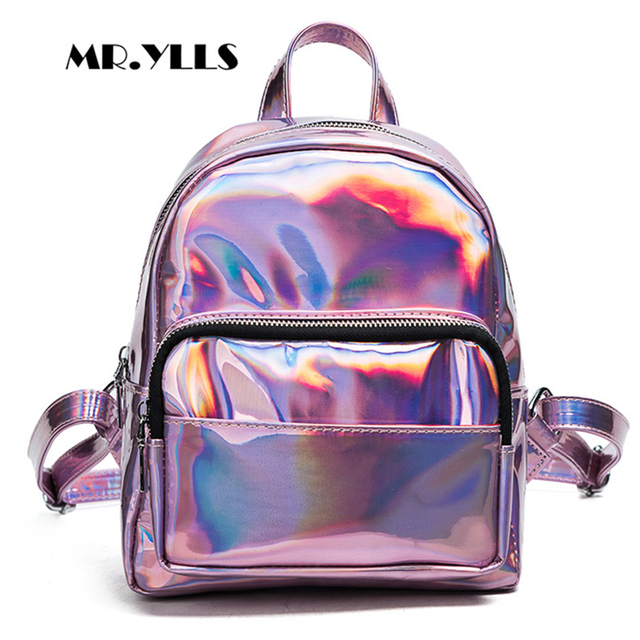 12be86f6f315 Laser Dazzle Colorful Women Backpacks Gradient Color Jelly Backpack Women  Solid Reflective Bolsa Preppy Style Knapsack Females