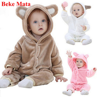Newborn Baby Girl Clothes Winter 2017 Flannel Cartoon Bear Baby Boy Rompers Long Sleeve Costume Infant Overall Baby Jumpsuits