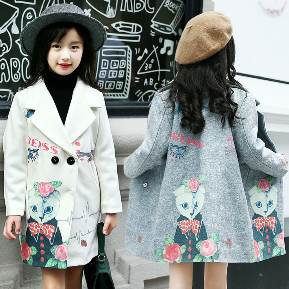 Girls Coats Wooled Jackets Teenage Kids Beauty Girl Pattern Long Outerwear Little Fashion Girl Clothing