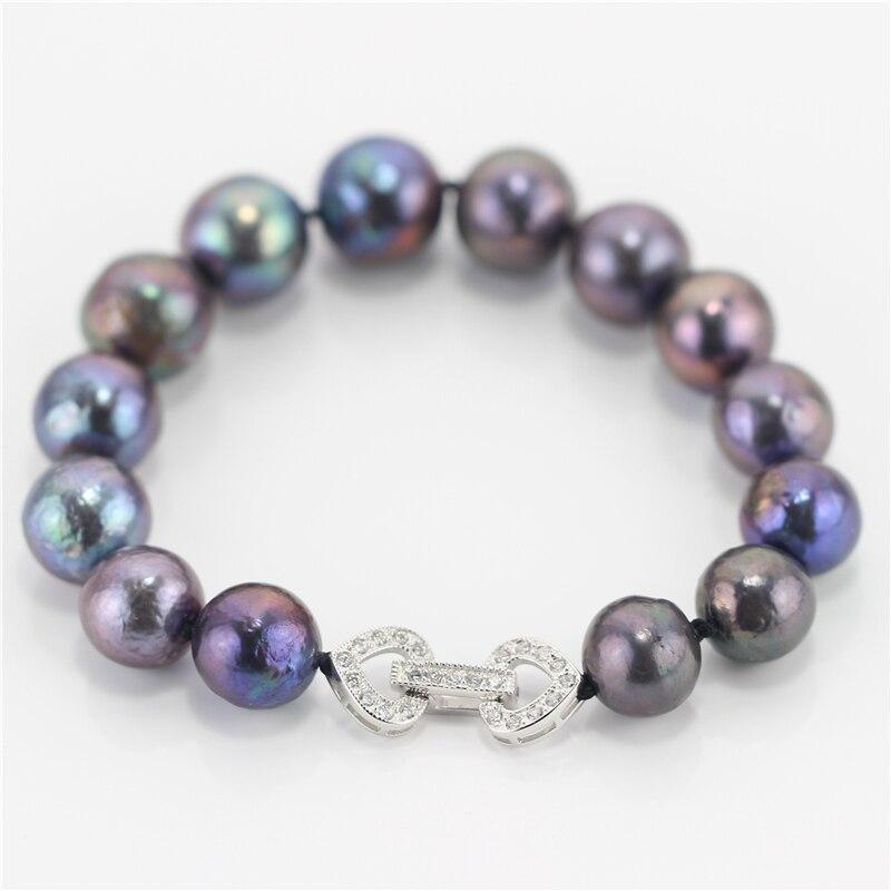 Snh 925 fermoir en argent sterling 10-12mm aa paon edison naturel d'eau douce noir perle bracelet livraison gratuite