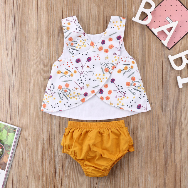 2-Pieces Colorful Floral Sleeveless Top and Tutu Pants Set for Baby Girl