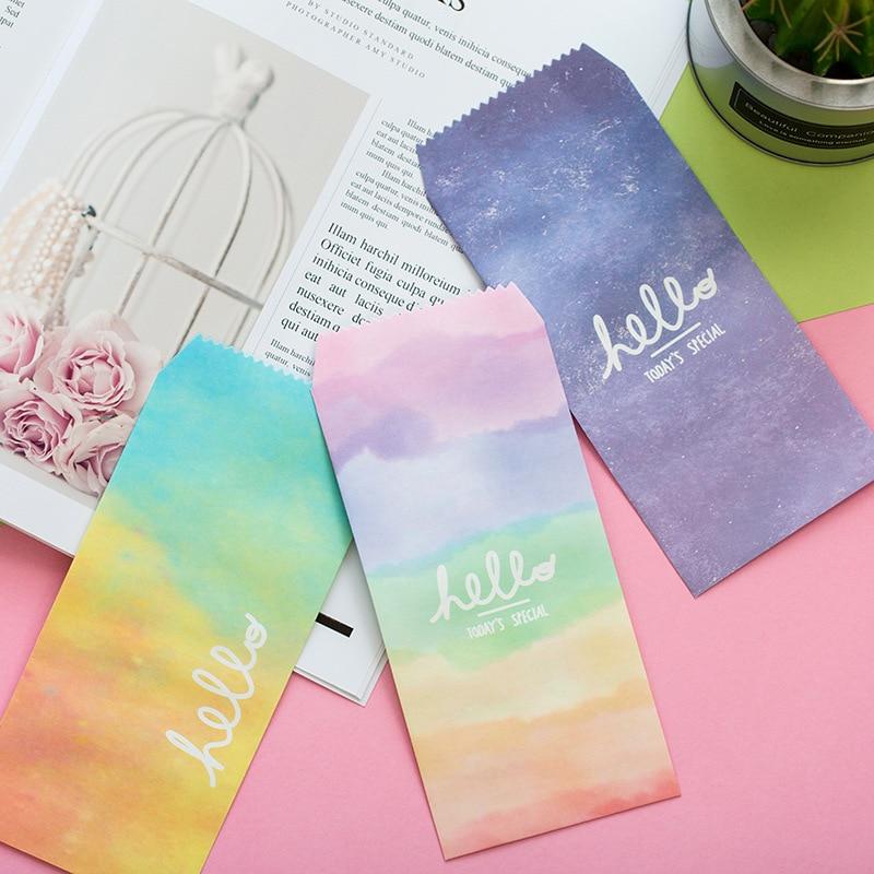 Qualified 5 Pcs/pack Aqua Gradient Envelope Envelope Letter Paper Message Card Letter Stationary Storage Paper Gift Paper Envelopes
