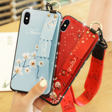 цена на Mobile Phone Case For iPhone 6 Plus Flower Pattern Case For Apple iPhone 6 6S Plus Anti-fall Wristband Case Diamond Back Cover