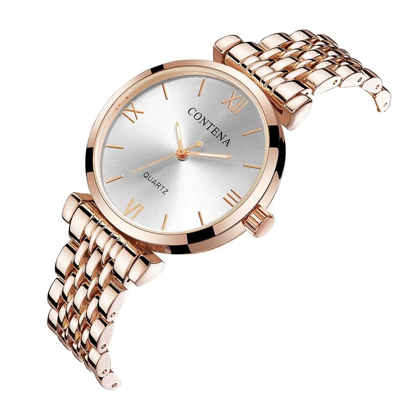 Women's Wrist Watch 2019 Luxury Brand Contena Ladies Quartz Watch Full Stainless Steel Female Clock Wristwatches Reloj Mujer