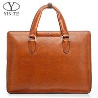 YINTE мужской портфель из натуральной кожи знаменитая Роскошная сумочка высокого качества деловой рабочий офисный ручной Портфель T8359 4