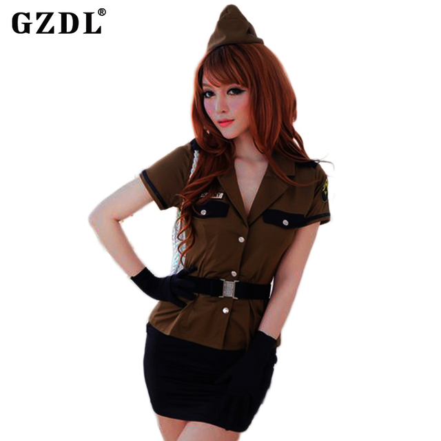 Mulheres Eróticas GZDL Soldado Do Exército Uniforme Adulto Cosplay Halloween Costume Fancy Dress G-corda Thong Sexy Lingerie Conjunto Saia SY4161