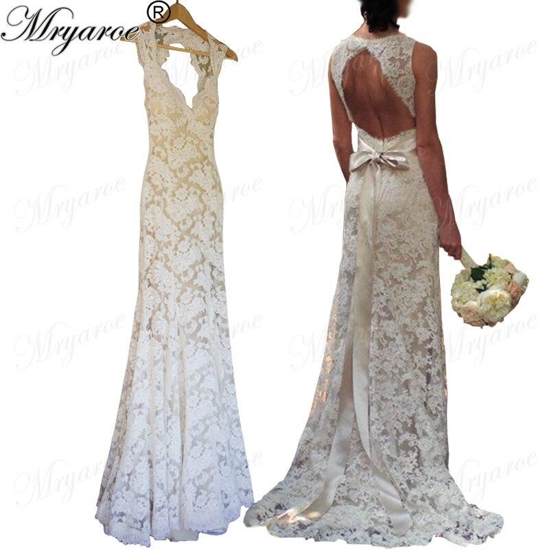 Us 15041 11 Offvintage Lace Mermaid Wedding Dresses Open Back Bridal Gowns With Ribbon Belt Cap Sleeves Keyhole Dress Vestido De Noiva De Renda In