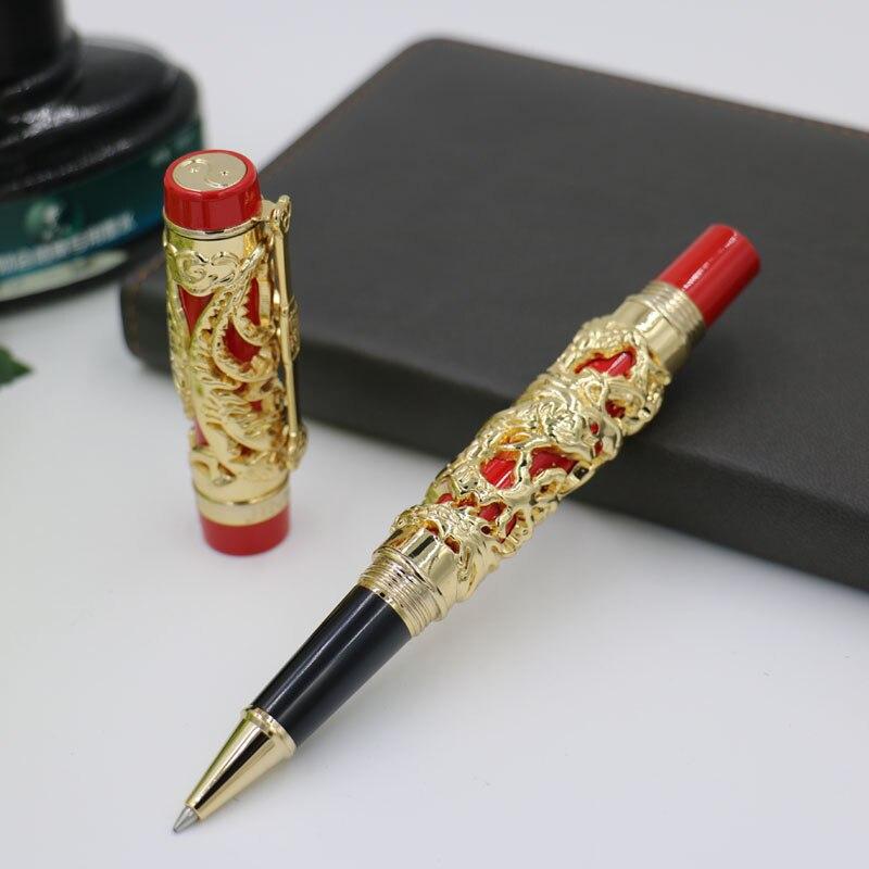 Jinhao Luxus Gold 3D Drachen und Phönix Muster Rollerball Stift Hochwertigem Metall Kugelschreiber für Schreiben Freies Verschiffen
