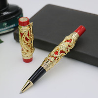 Jinhao Luxury Gold 3D Dragon And Phoenix Pattern Rollerball Pen High Quality Metal Ballpoint Pens For