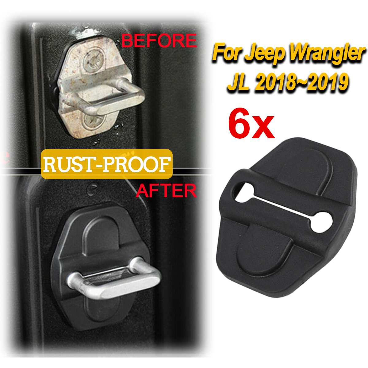 ABS Door Lock Protective Cover For Jeep For Wrangler JL 2 4 Door 2018-2019 Accessories Car Interior Parts Anti-rust Cover