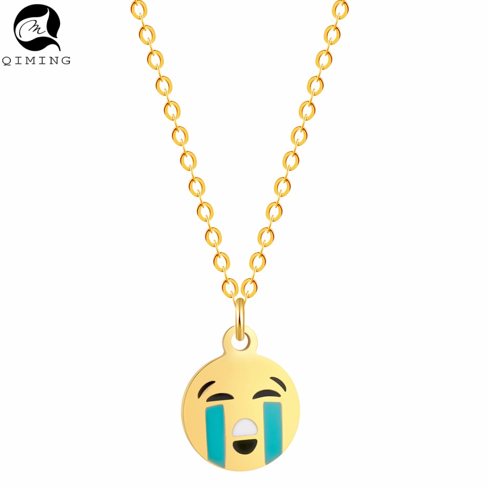QIMING 10pcs Emoji Pendant Baby Necklace Round Charm Crying Face Charm Girls Gift Wholesale Jewelry Women Necklace Collier