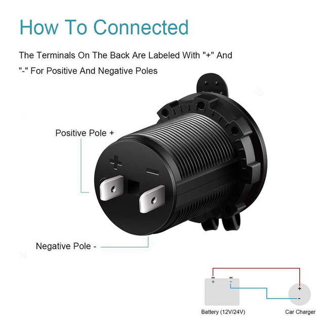 Black Color 12V 120W Motorcycle Car Boat Tractor Accessory Waterproof Cigarette Lighter Power Socket Plug Outlet Car-styling