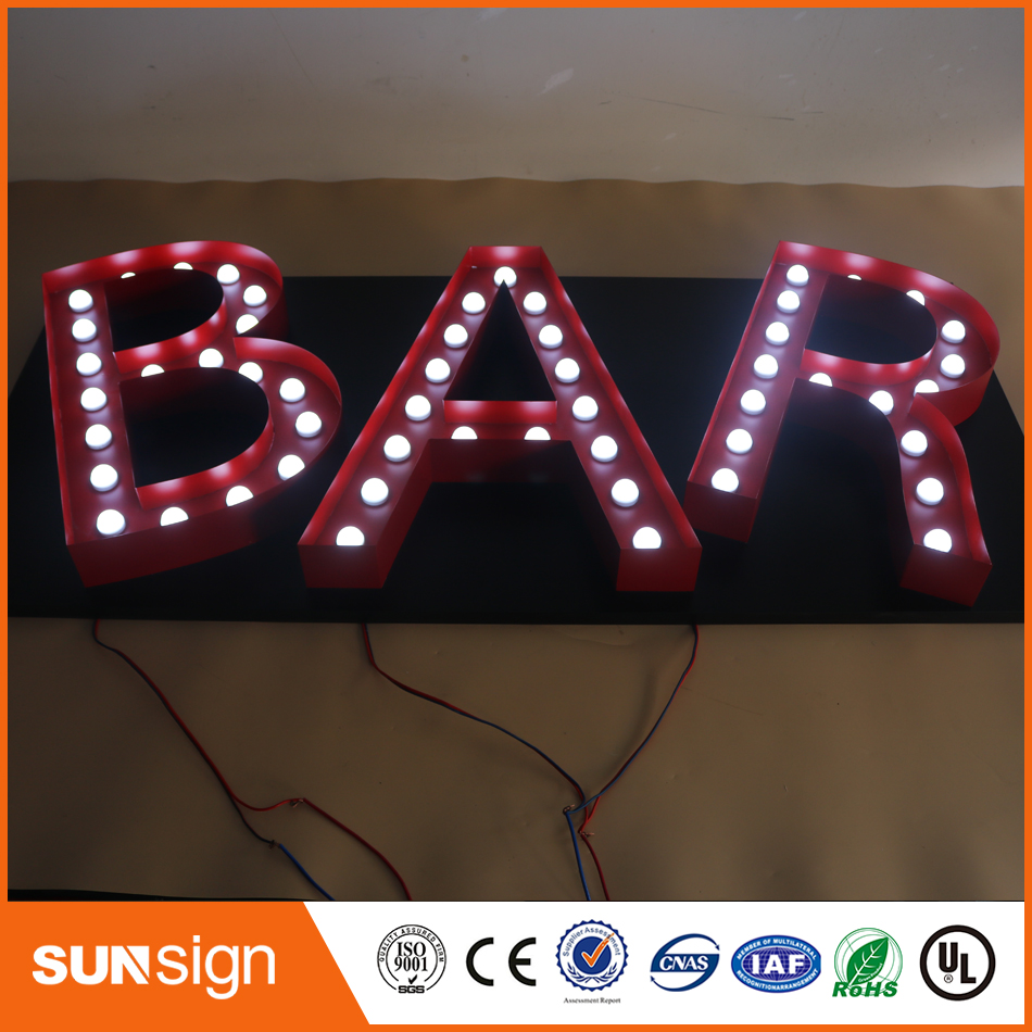 3D Marquee Letter Lights Stainless Steel Light Bulb Letter Signs Exterior Waterproof Shopfront Signs