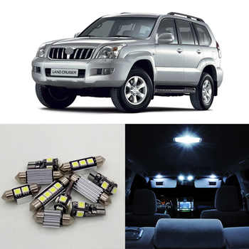 14pcs White Car LED Light Bulbs Interior Package Kit For 1998-2002 Toyota Land Cruiser Prado Map Dome Door Lamp Plug n Play 12V - DISCOUNT ITEM  35 OFF Automobiles & Motorcycles
