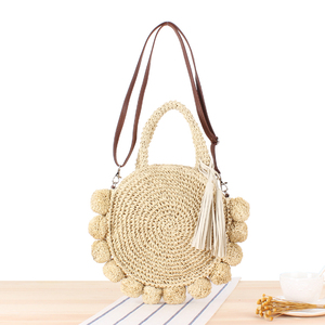 Image 4 - New Beach Woven Handbags Summer Women Fashion Round Ball Bag Rattan Woven Shoulder Messenger Travel Straw Bag