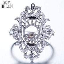 HELON Unique Solid 14K White Gold Oval 13x9mm Diamonds Semi Mount Engagement Wedding Ring Women Trendy Special Flowers Jewelry