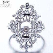 HELON Unique solide 14 K or blanc ovale 13x9mm diamants Semi Mount bague de fiançailles de mariage femmes à la mode spécial fleurs bijoux