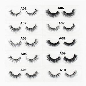 Image 2 - LEHUAMAO faux cils en vison 3D faits à la main, Collection de poils, 34 styles, emballage avec paillettes, 100 paires