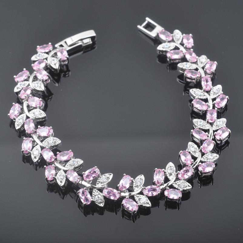FAHOYO 2017 Fashion Pink Zirconia For Women 925 Silver Jewelry Link Chain Bracelet Free Shipping SL0203