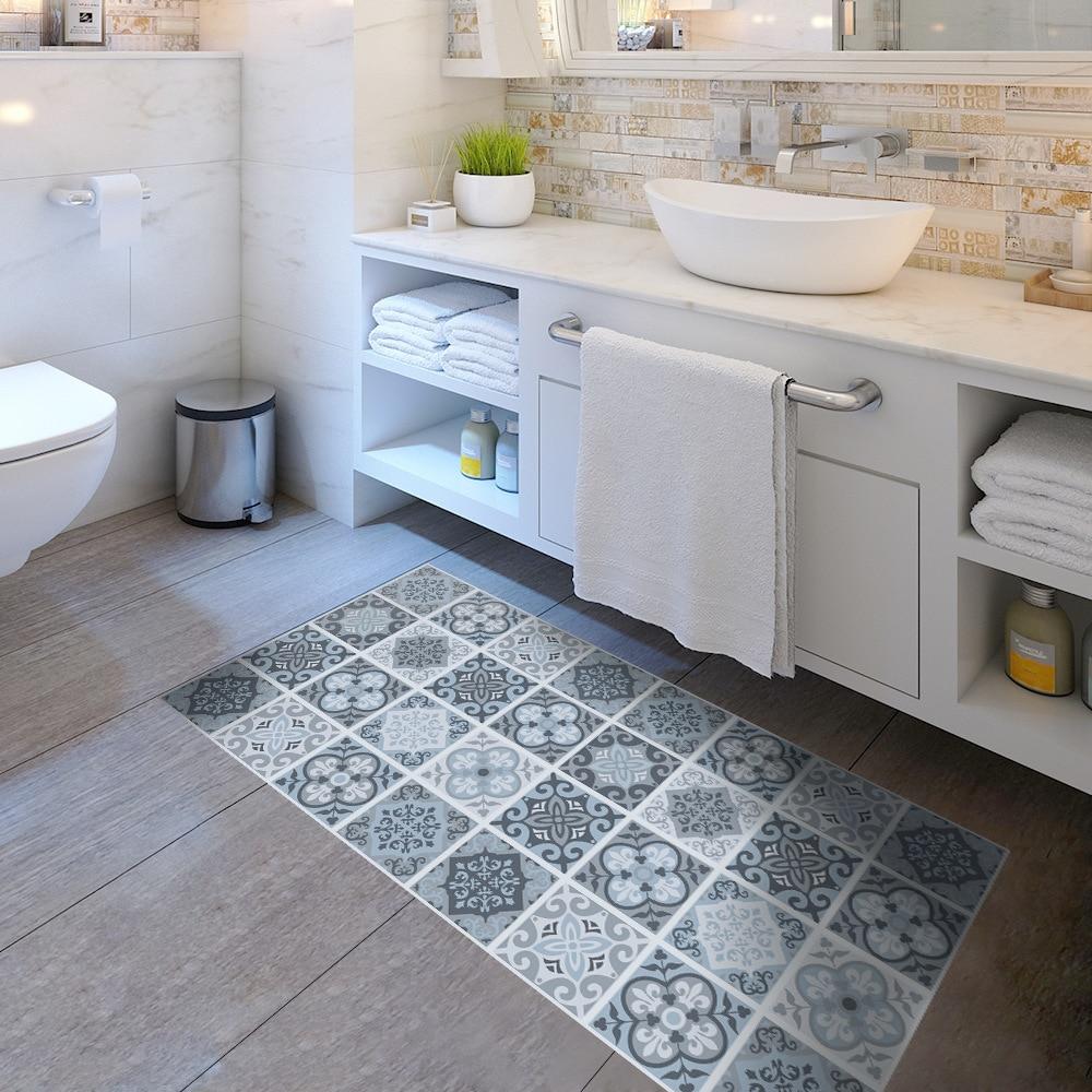 US $20.54 21% OFF|Abnehmbaren rutschfesten Boden Aufkleber Mediterranen  Stil Selbstklebende Fliesen Kunst Wandtattoo DIY Küche Bad Home Decor-in ...