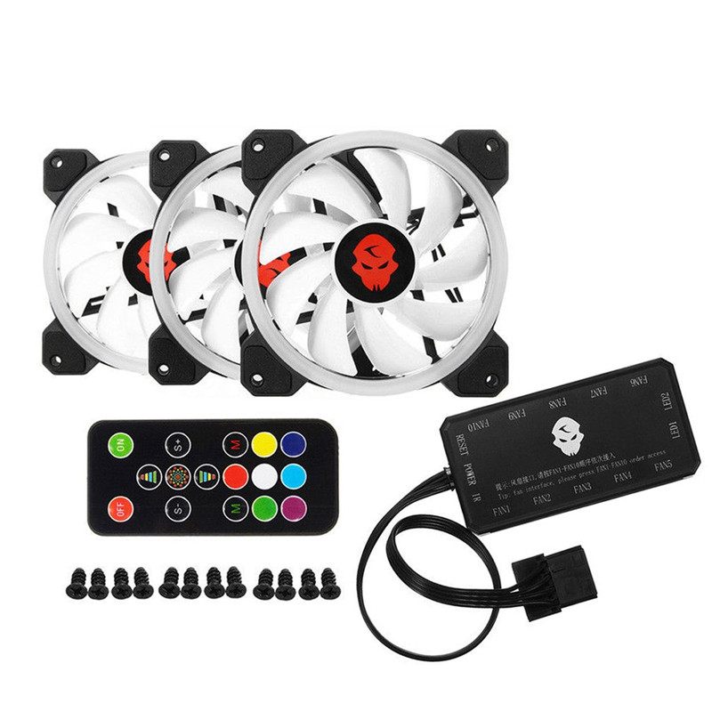 цена Cooler Cooling Fan Computer PC Double Ring 366 Modes 10 Level Adjust Speed RGB LED 120mm Cooling Fan For CPU High-airflow