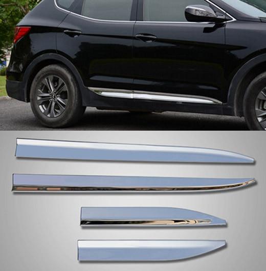 Accessories Fit For 2013 2014 2015 Hyundai Santa Fe Chrome Side Door Line Garnish Body Molding