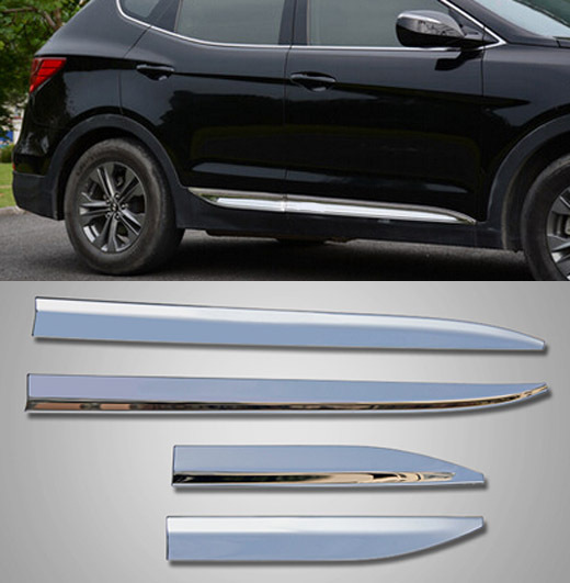 Good ACCESSORIES FIT FOR 2013 2014 2015 HYUNDAI SANTA FE CHROME SIDE DOOR LINE  GARNISH BODY MOLDING