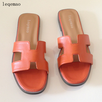 Summer New Luxury Flip Flops High Quality Natural Leather Women Sandals Fashion Brand Flats Shoes Ladies