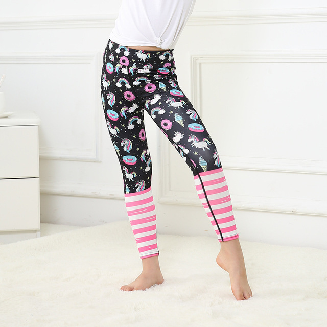 b1e74dc5e993a2 Matching Girls leggings black pink donuts rainbow unicorn cartoon prints  Child Yoga pants sports outfits activewear