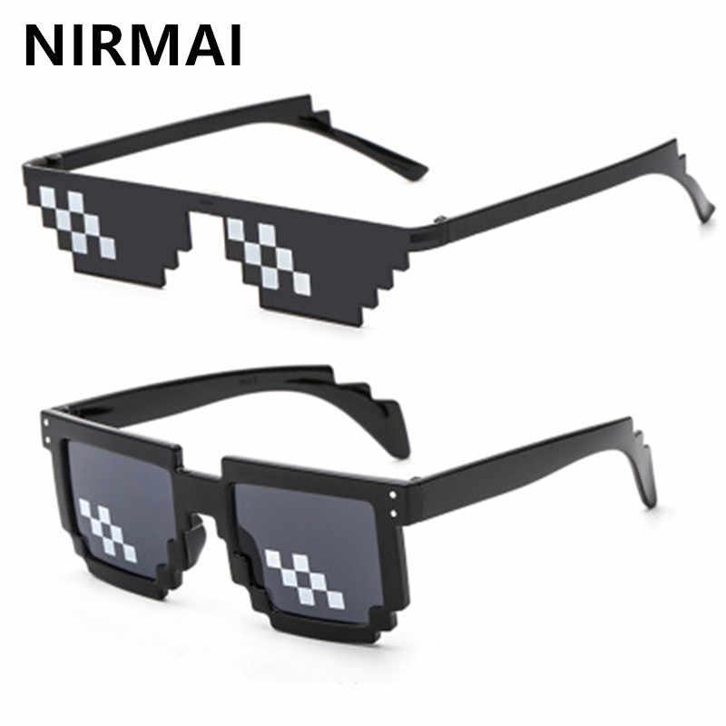 0a32ff2fb3 NIRMAI gafas de sol hombres Thug vida gafas mujer 2018 niño niña 4 colores  pixelada Minecraft
