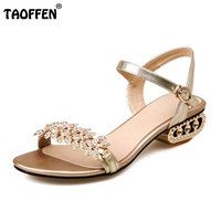 TAOFFEN Size 33 43 Women Beading High Heel Sandals Summer Vacation Club Shoes Women Beading Gold