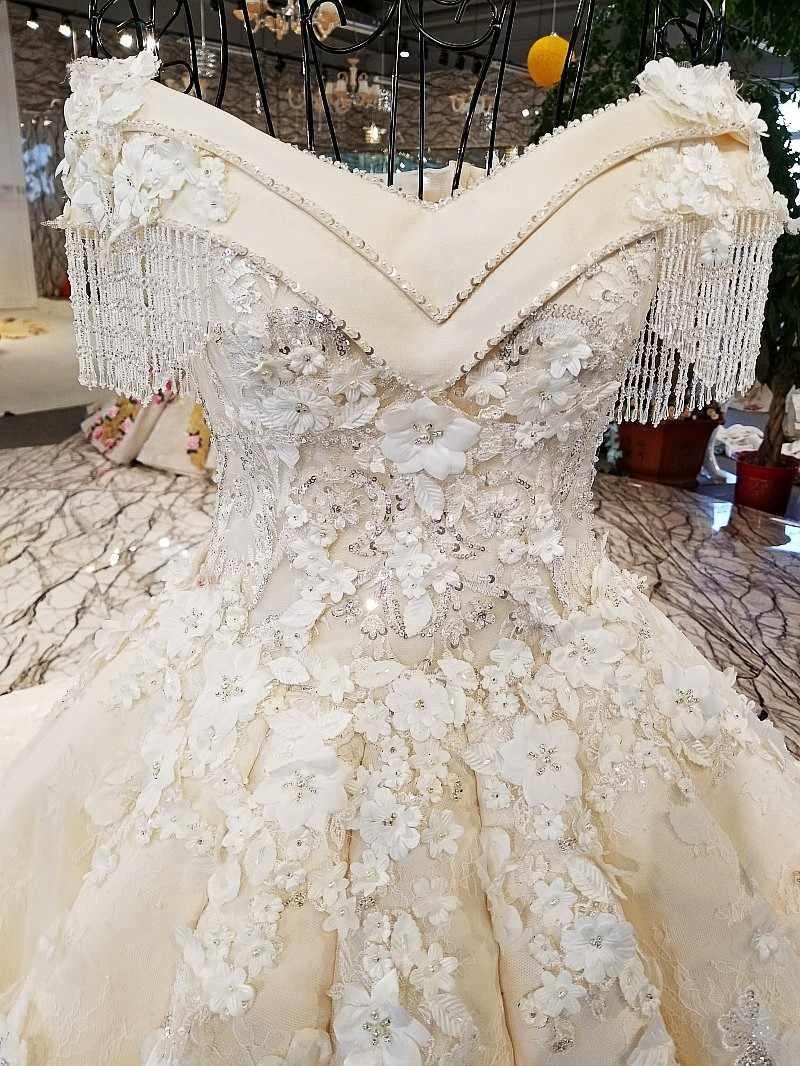 LS90659 свадебное платье с кружевомсвадебное платье возлюбленной с плеча мода аппликация цветок картины бисером элегантный макси свадебное платье с длинным поездом