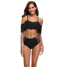 2019 Hot Sale New Bikini Ruffled Solid Color High Waist Split Bandage Swimsuit Hollow Sexy