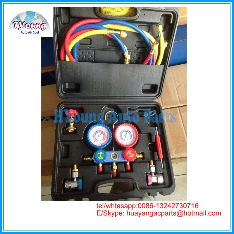 Auto Manometer Set Diagnostic Tool, bevat Dual Tafel Valve Gauge Koelmiddel Manometer Digitale R12, R22, r404a, R134-in Aircocompressor & -koppeling van Auto´s & Motoren op HuaYoung automotive Parts Store
