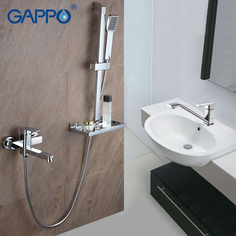 Gappo 1Set Bathroom shower faucet with 1set Basin Faucet Shower Tap Single Handle Cold and Hot Water Mixer with Slide Bar G2898-in Shower Faucets from Home Improvement    1