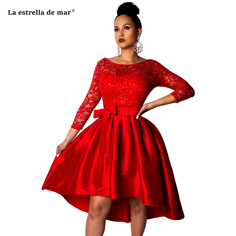 Robe   cocktail   new Scoop neck lace half sleeve Ball Gown red white high-low   cocktail     dresses   Tea-Length prom party gown