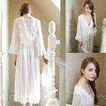 Sexy Womens Lace Lolita Longo Sono Robe Camisa Pricess Vestido Do Vintage Bonito Sleepwear Branco
