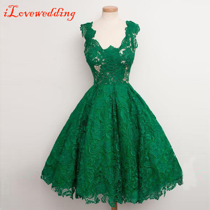 An Elegant And Sustainable Florida Home With Fantastic Views: Custom Made Floral Lace Green Short Prom Dresses
