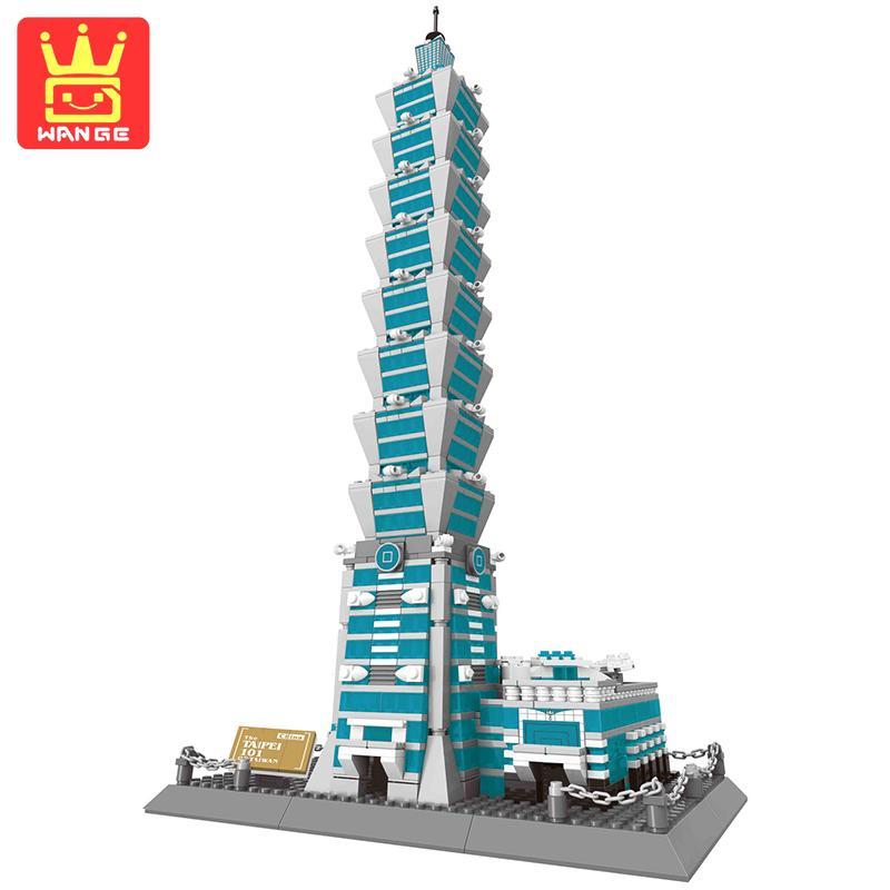 WANGE TaiBei 101 Architecture Series Educational Building Block Set 1511pcs Construction Bricks Toys For Kids Collectible mini architecture series 4 cubicfun 3d educational puzzle paper