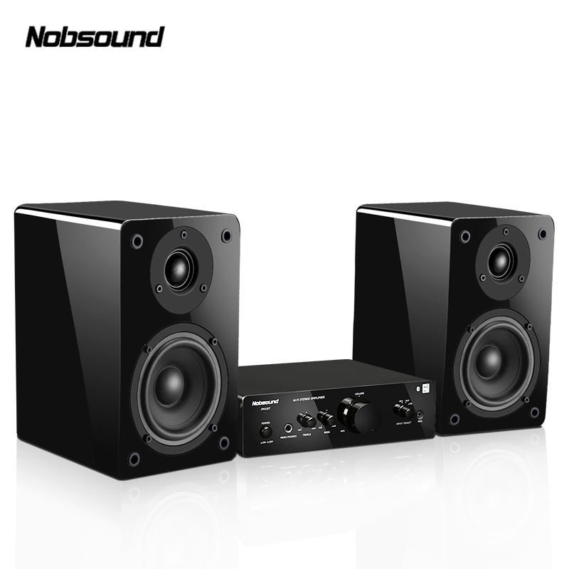 Nobsound PM18 Wood 60W 1 Pair 4 inches Woofer Bookshelf Speakers 2.0 HiFi Column Sound Combination Home Professional speaker lonpoo home theatre bookshelf speaker pair 75w classic wooden passive speakers 4 inch carbon fiber woofer and silk dome tweeter