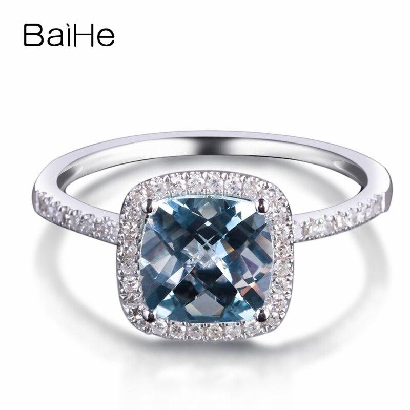 0.20ct Natural Aquamarine Anel de Diamantes de