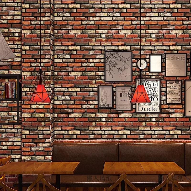 Vintage Imitation Brick 3D Self adhesive Wallpaper Bedroom Decor Living Room Background Decoration Wall PaperVintage Imitation Brick 3D Self adhesive Wallpaper Bedroom Decor Living Room Background Decoration Wall Paper