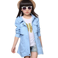 Baby children jackets for girls trench coat long cotton child windbreaker for girl clothes autumn spring outfit 4 14 years
