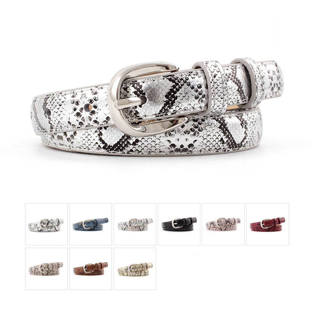 Women Ladies Sexy Snake Pattern PU Leather Belt Vintage Classic Silver Pin Buckle Belt Fashion Unisex Trouser Accessories Belt
