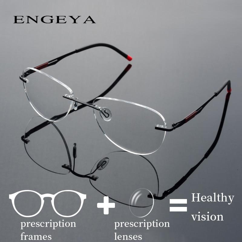 Metal Prescription Eyeglasses Men Women Fashion Rimless Optical Progressive Spectacles Super Light #IP8033