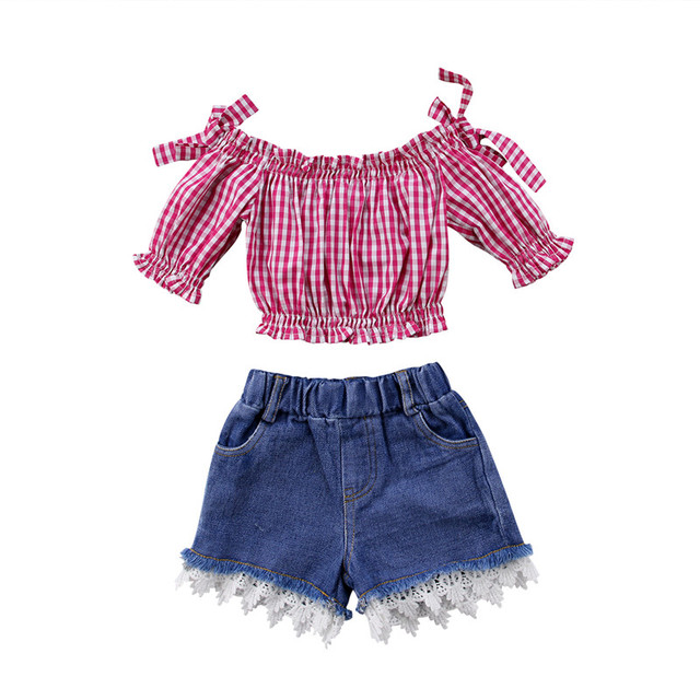 122848cd84 1-6Y Children Baby Girl clothing sets bebe girls Off Shoulder red plaid t  shirt Top +Denim lace Short Jeans Outfit Clothes Set